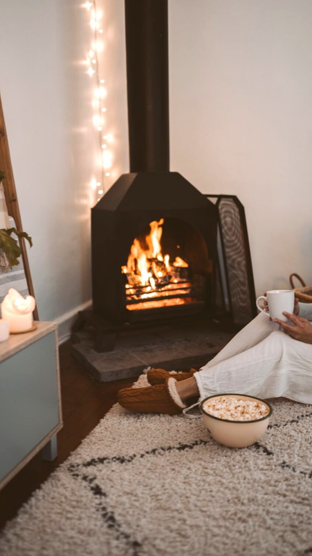 Cozy winter wallpaper with fireplace