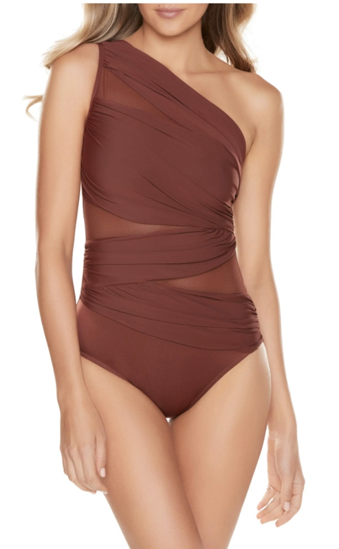 Brown asymmetric one piece swimsuits that cover back fat