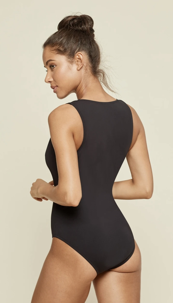 Cute black one piece bathing suits that cover back
