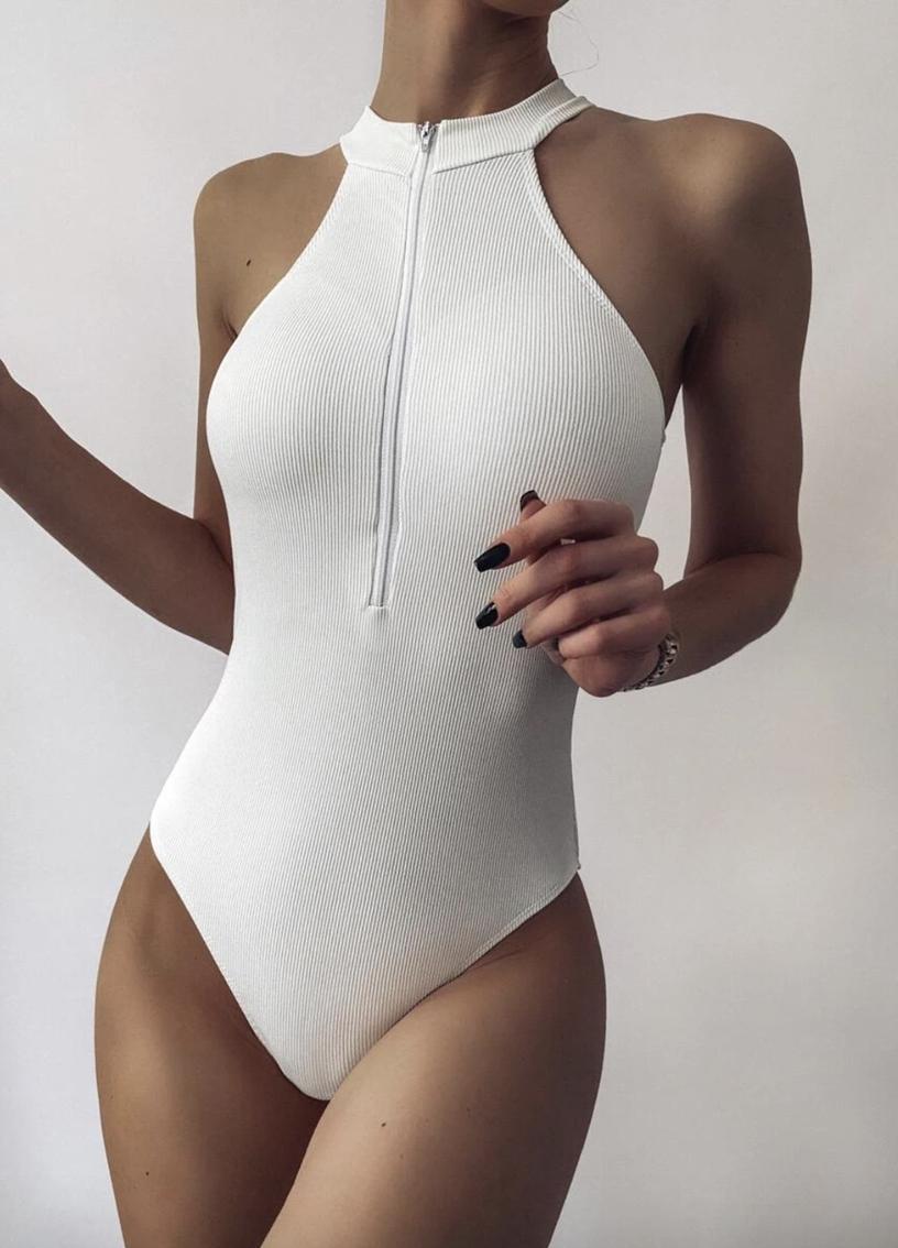 White elegant high neckline one piece bathing suits