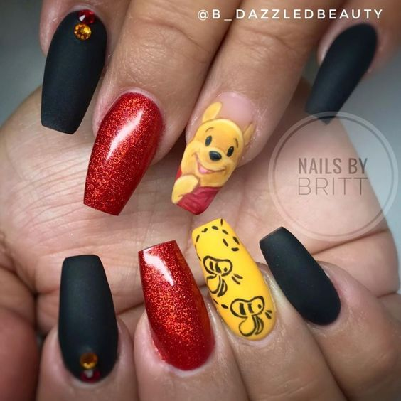 Cute Disney nails with Winnie the Pooh
