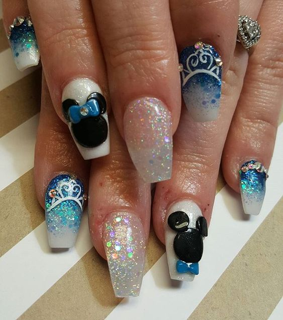 White and blue ombre Disney nails