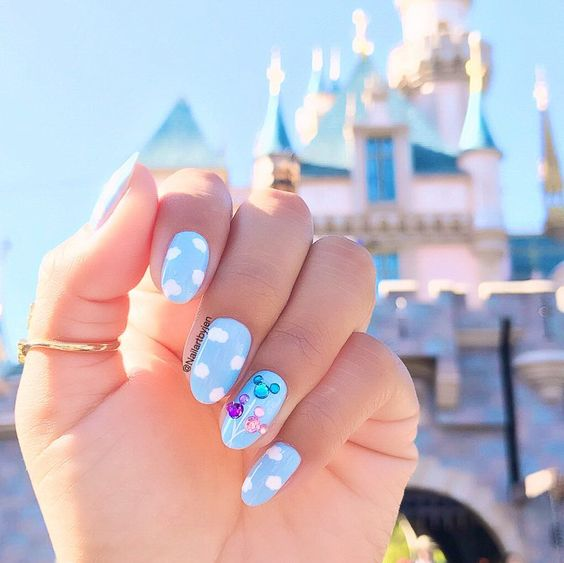 Light blue Disney nails
