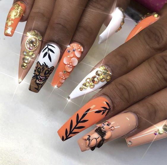 Acrylic lion King nail art ideas
