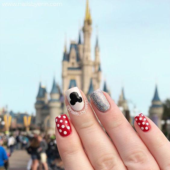 Cute and short Disney nails