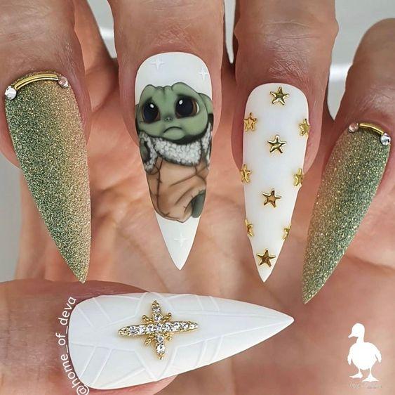 Baby Yoda nail and Star Wars nails