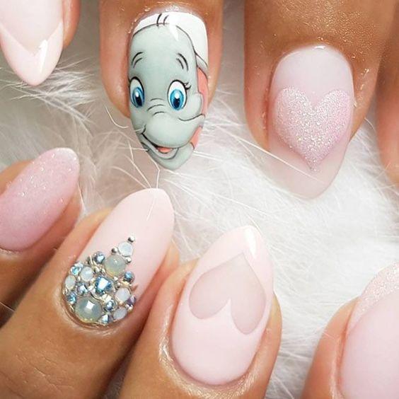 Cute Disney nails - pink Dumbo nails