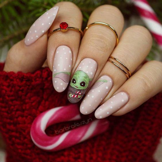 Cute Baby Yoda nails - Star Wars nails