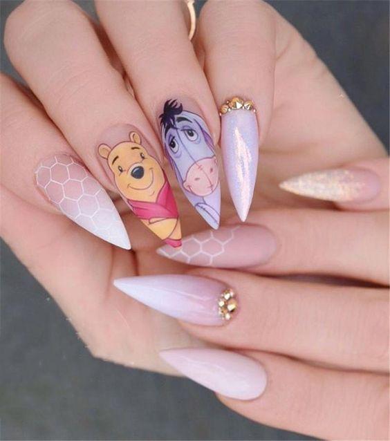 Winnie The Pooh acrylic stiletto nails