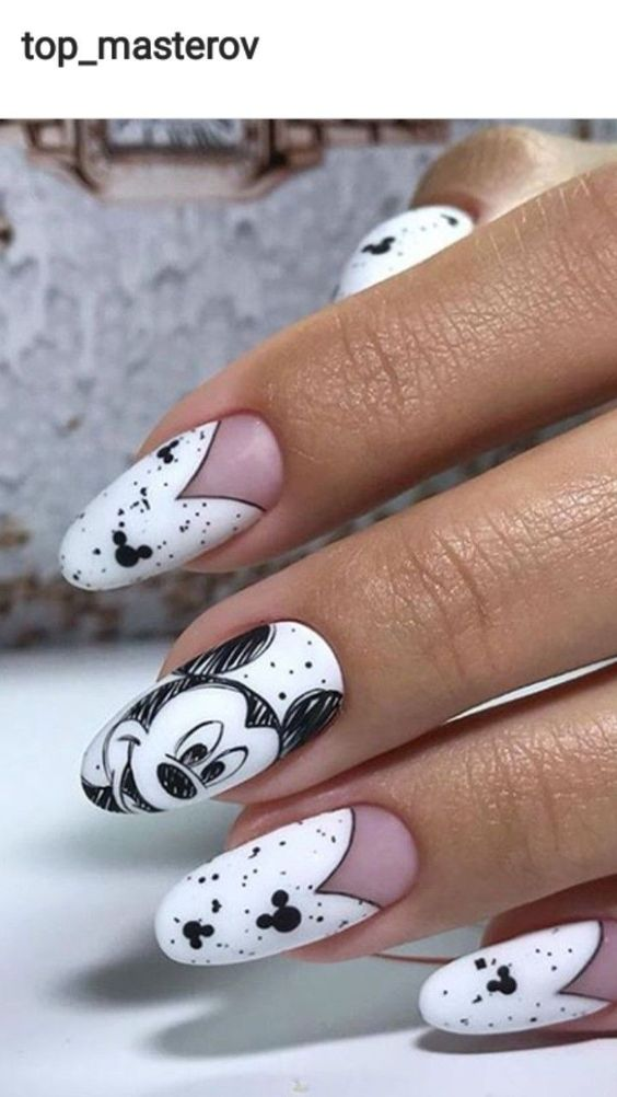 White Disney nails with Mickey Mouse