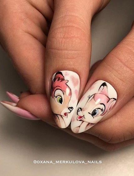 Bambi nail art - Disney nail art ideas