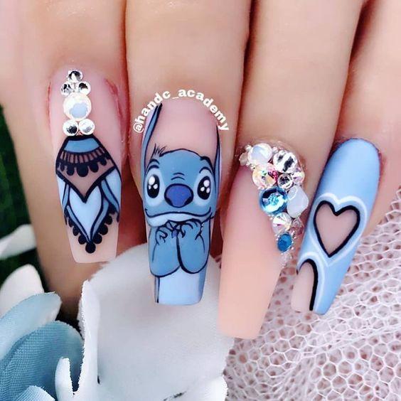 Cute Stitch nails - Blue acrylic Disney nails