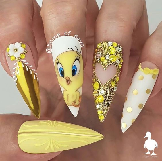 Yellow tweety nails