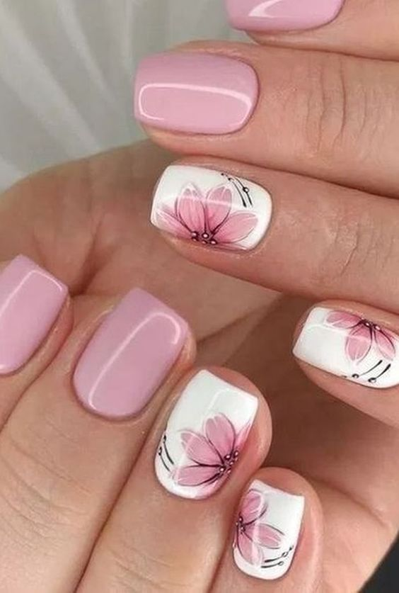 Cute flower nail designs with pink and white