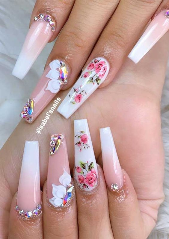 Acrylic coffin flower nail design with pink and white