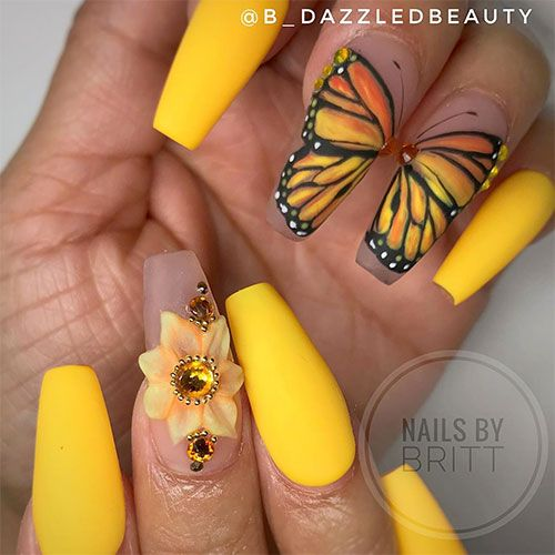 Yellow sunflower nails with butterfly nail art