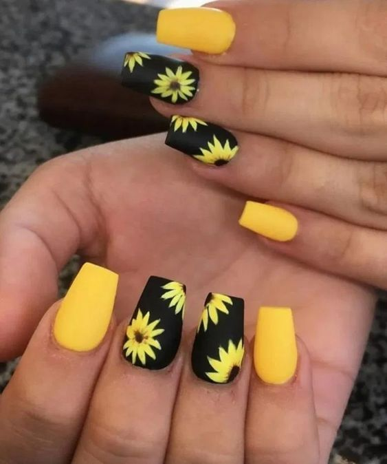 Black and yellow flower nail designs with sunflower