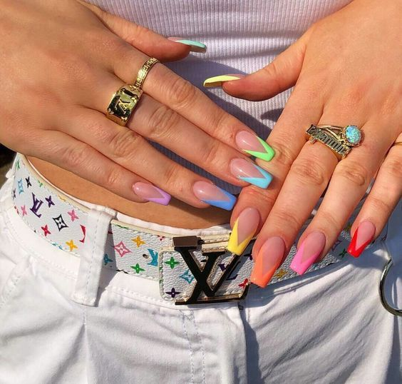 Modern colorful French tip nails