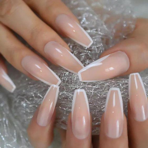 Modern white French tip nail designs