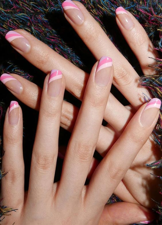 Striped pink French tip nail art
