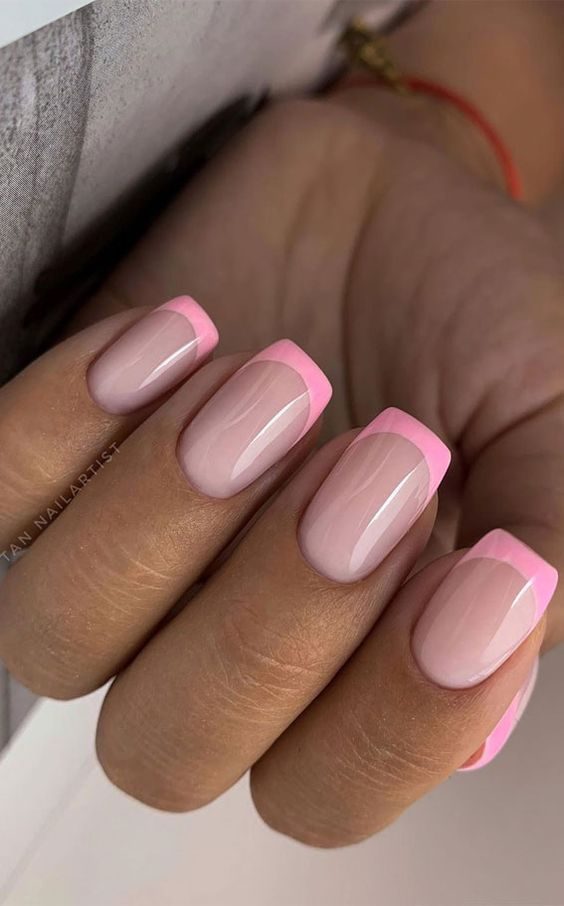 Cute pink French tip acrylic coffin nails