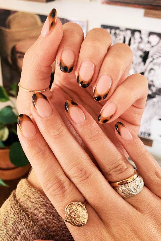Tortoiseshell French tip nails