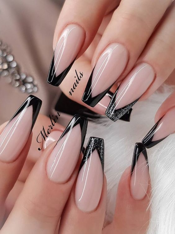 Black French tip nails in acrylic coffin shape