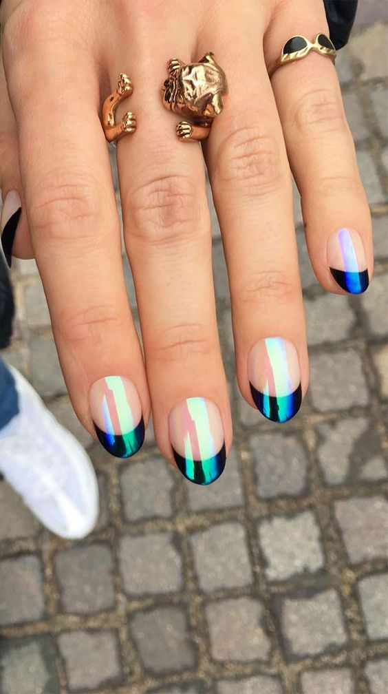 Holographic black French tip nails