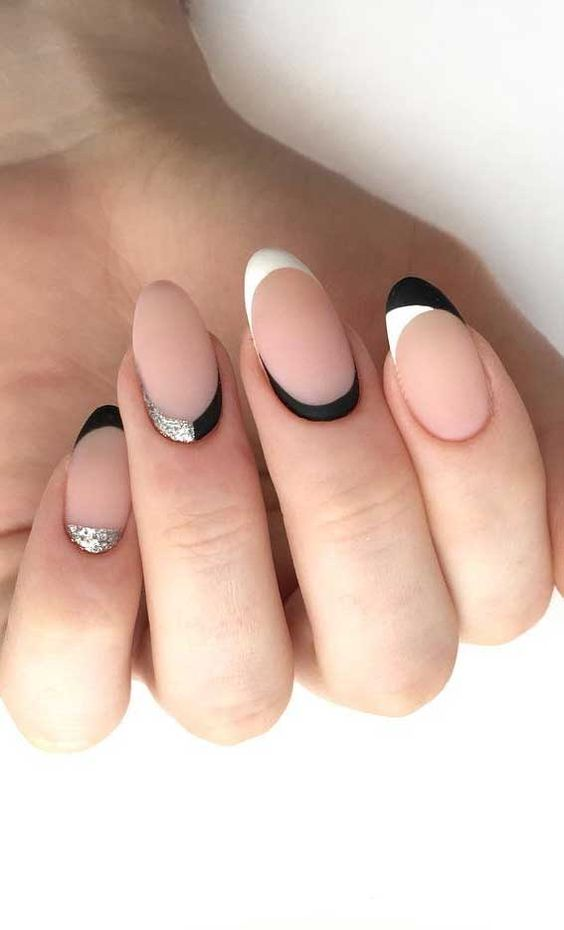 Black and white half moon nails with French tips