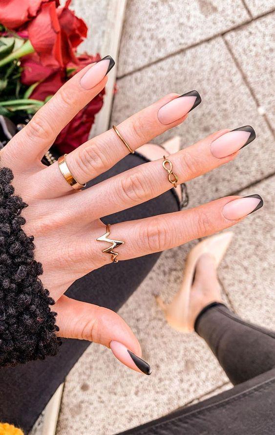 Matte black French tip nail designs