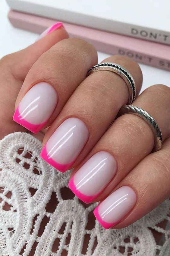 Hot pink French tip nails