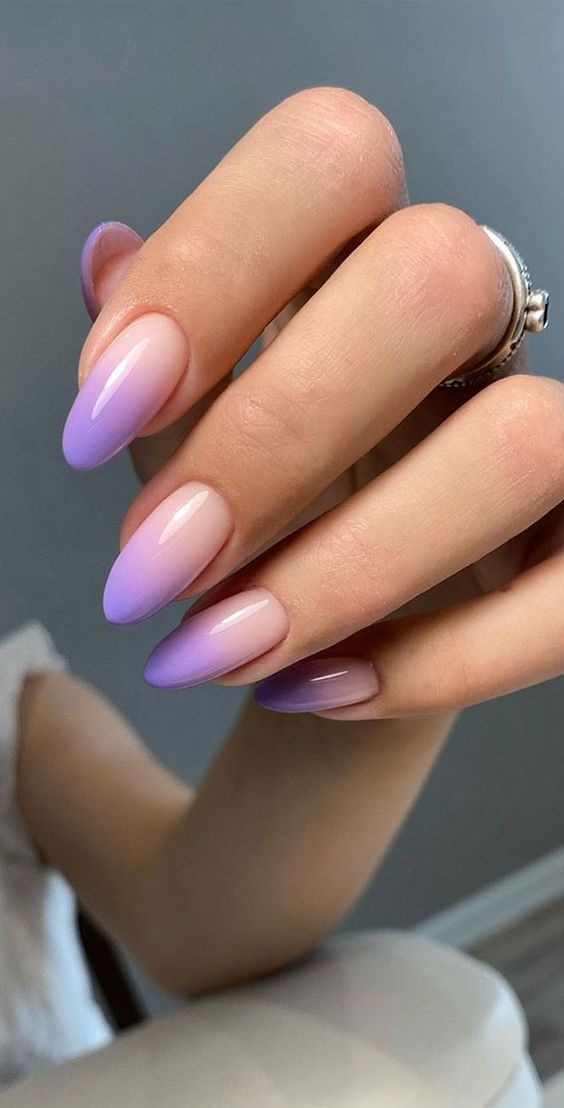 Purple ombre French tip nail designs