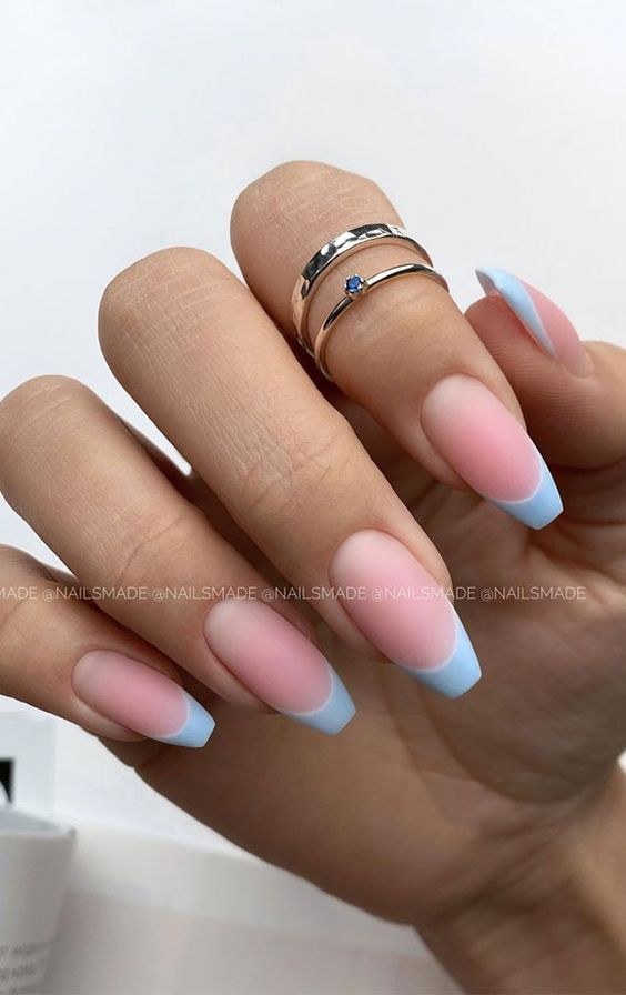 Cute matte light blue French tip nails