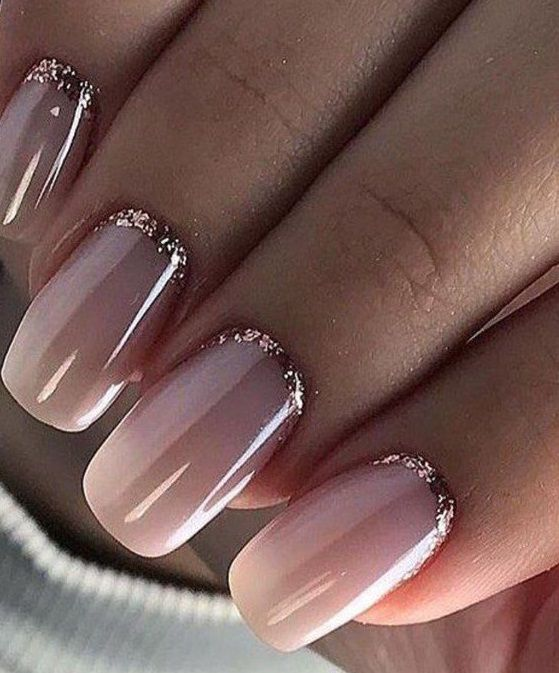 Pink ombre French tip nail designs with half moon glitter