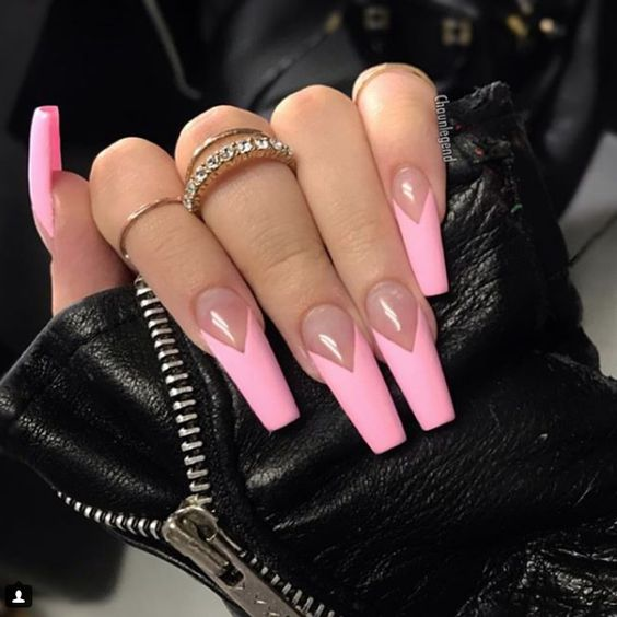 Long baby pink French tip nails in acrylic coffin shape