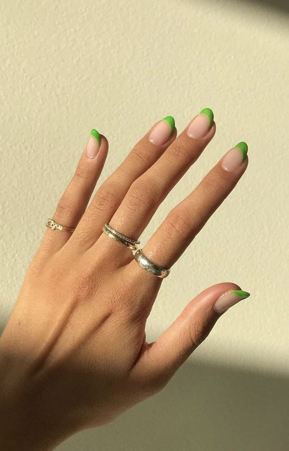 Short green French tip nails