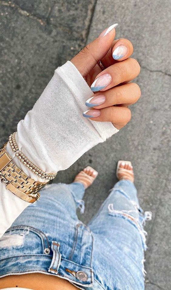 Cute grey and white French tip nails