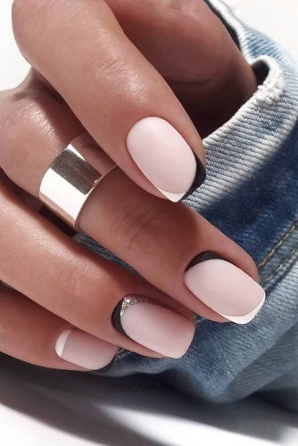 Matte black and white French tip nail designs