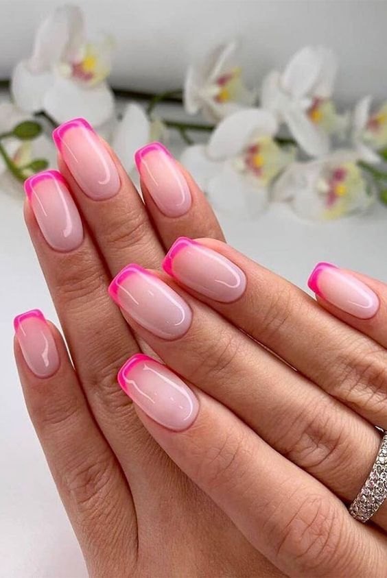 Acrylic pink French tip nails