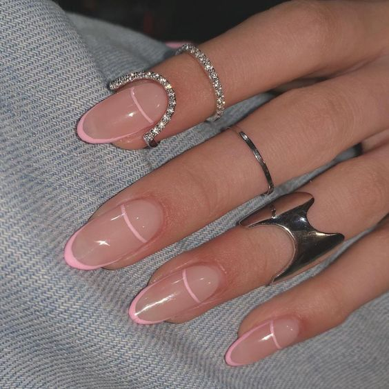 Light pink French tip nails