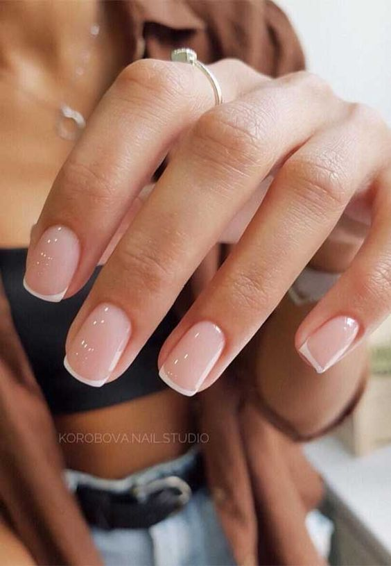 Cute minimalist French tip nails