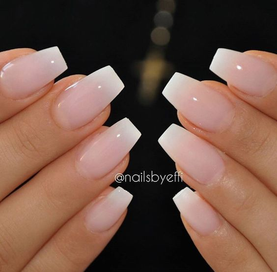 Pink and white ombre French tip nails