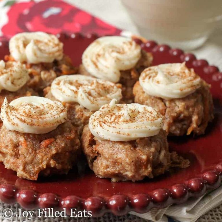 Keto Mini Carrot Cake Cookies with Cream Cheese Frosting