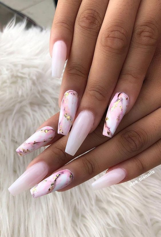 Pink marble nails