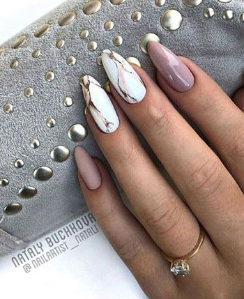 Pink and white marble nails