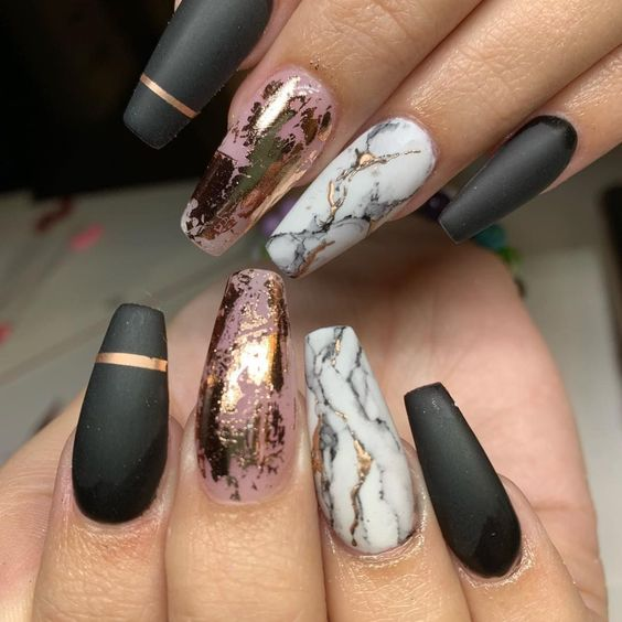 Grey and rose gold marble nails