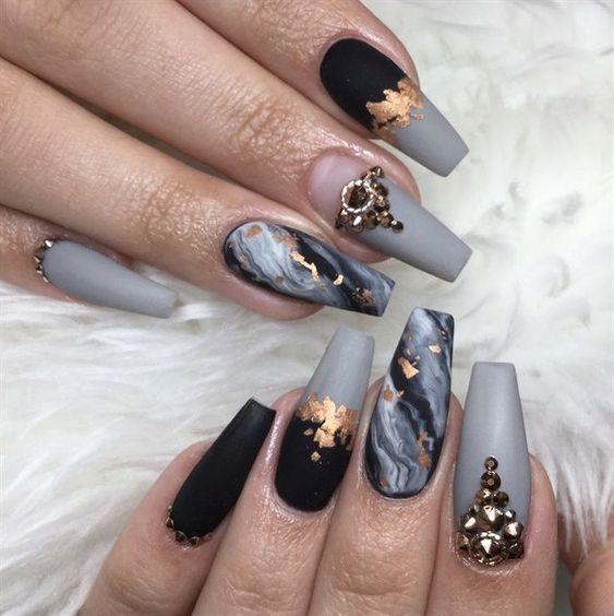 Grey marble nail designs