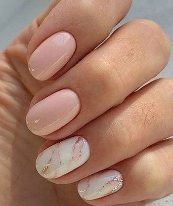 Shot light pink nails with white