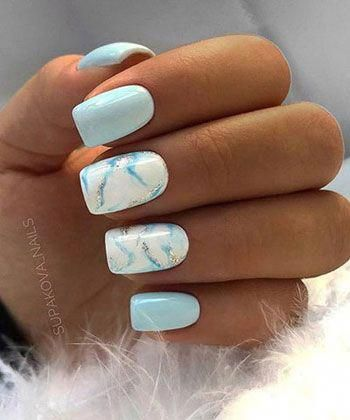 Cute light blue nails