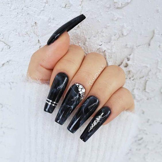 Long black marble nails